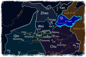 A State of Qi with its capital Linzi, where the academy Jixia Gate was established and the book Nèiyè 內業 was compiled by Guănzĭ 管子